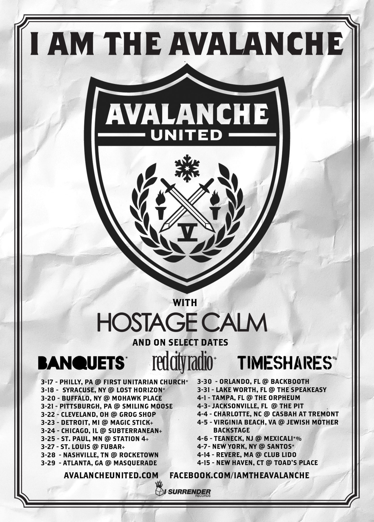"On tour again starting this week with Hostage Calm, Red City Radio, Banquets and Timeshares will be along for the ride as well….psyched to be hitting the road back here.  All our tour dates and ticket links are listed HERE. Stoked too that we're going to be making live videos of ""Holy Fuck"" and ""I'll Be Back Around"" on this tour…so bring your iPhones/flipcams/whatever and send whatever you've got to: IATAfanfootage@gmail.com. Philly this Saturday and Syracuse on Sunday, plus NYC and Revere MA in April, are the official shows to film. But feel free to send us whatever you've got from any of our shows if you get something good…"