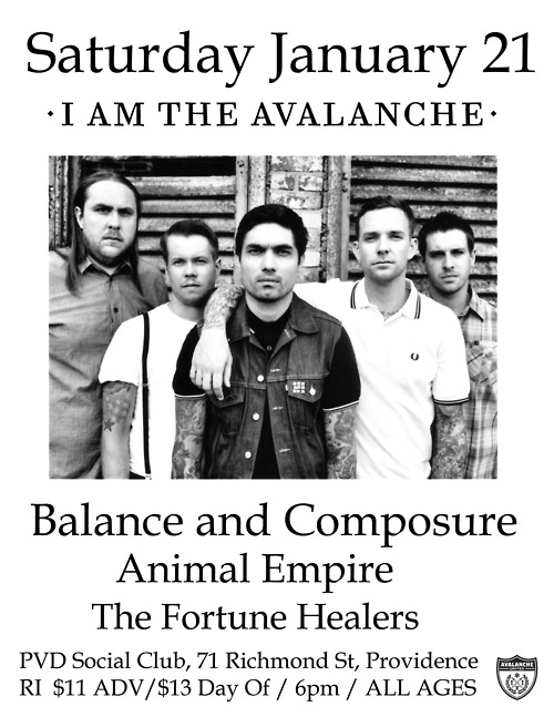 Who's coming out to our show in Providence on January 21?  Stoked to be playing with Balance and Composure + Animal Empire + The Fortune Healers.  The show's at the Providence Social Club and you better get your tickets before they're all gone: http://bit.ly/uxATgi  Doors at 6, show at 7.  ALL AGES.