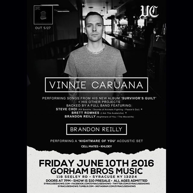 SYRACUSE! Get your asses to @gorhambrothersmusic tonight to see @vinniecaruana and his band + @brandonreilly doing a @nightmare_of_you_band acoustic set.  Doors at 7 pm, Friday night alright 🍻  #syracuse #show #vinyl #tour #survivorsguilt #rocknroll #newmusic #newalbum