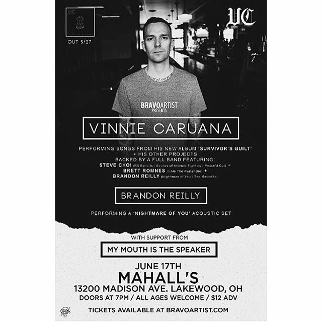 CLEVELAND! It's Friday night so you better head to @mahalls20lanes later on to catch @vinniecaruana and his band + @brandonreilly (acoustic @nightmare_of_you_band set) + @mymouthisthespeaker. Doors at 7 pm, DO IT UP!!! #tour #show #mahalls #newmusic #gigoftheday #cleveland #instagood #music