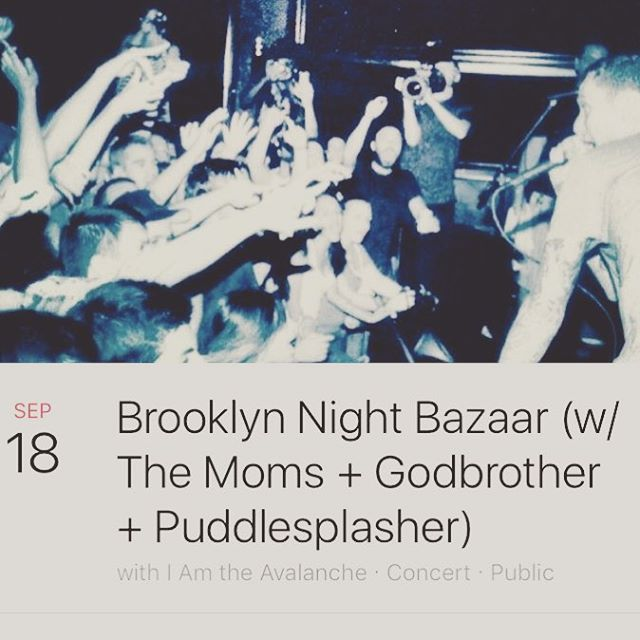 Sunday Sept 18 we've got @themomsthemoms @godbrother_ny @puddlesplasherband joining us at @bkbazaar in Brooklyn, tickets and all other deets can be found in the link in our bio! See ya there🍻🍻🍻