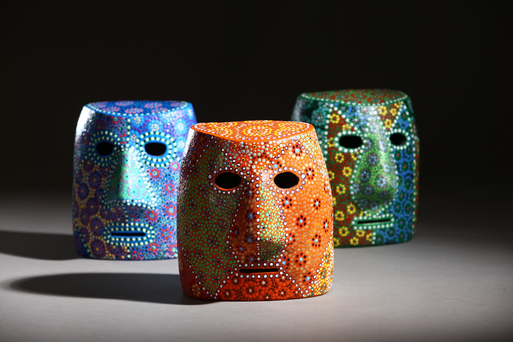 patrick colhoun // triptych of cohorts ceramic mask sculptures with glazed and hand painted finish