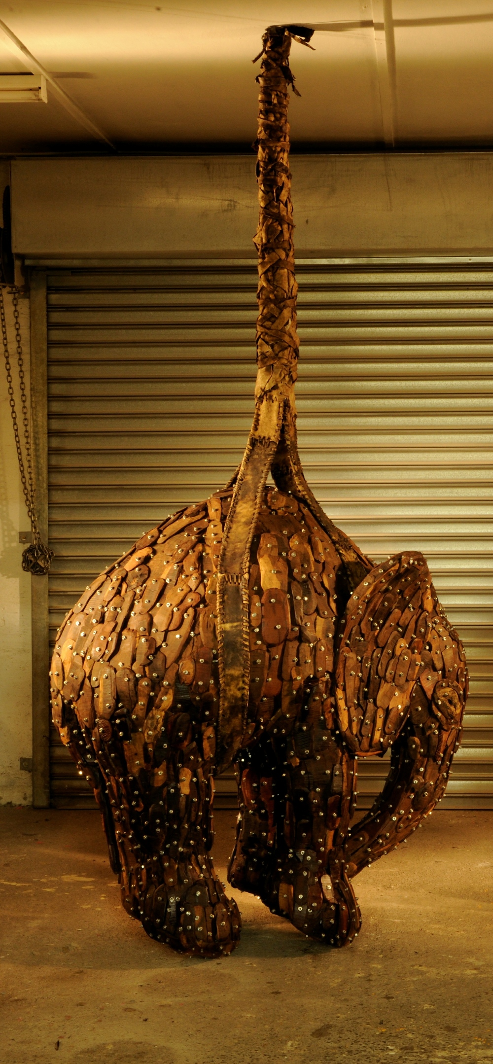 Andries botha // elephant I iron wood and cow skin over GALVANISED armature
