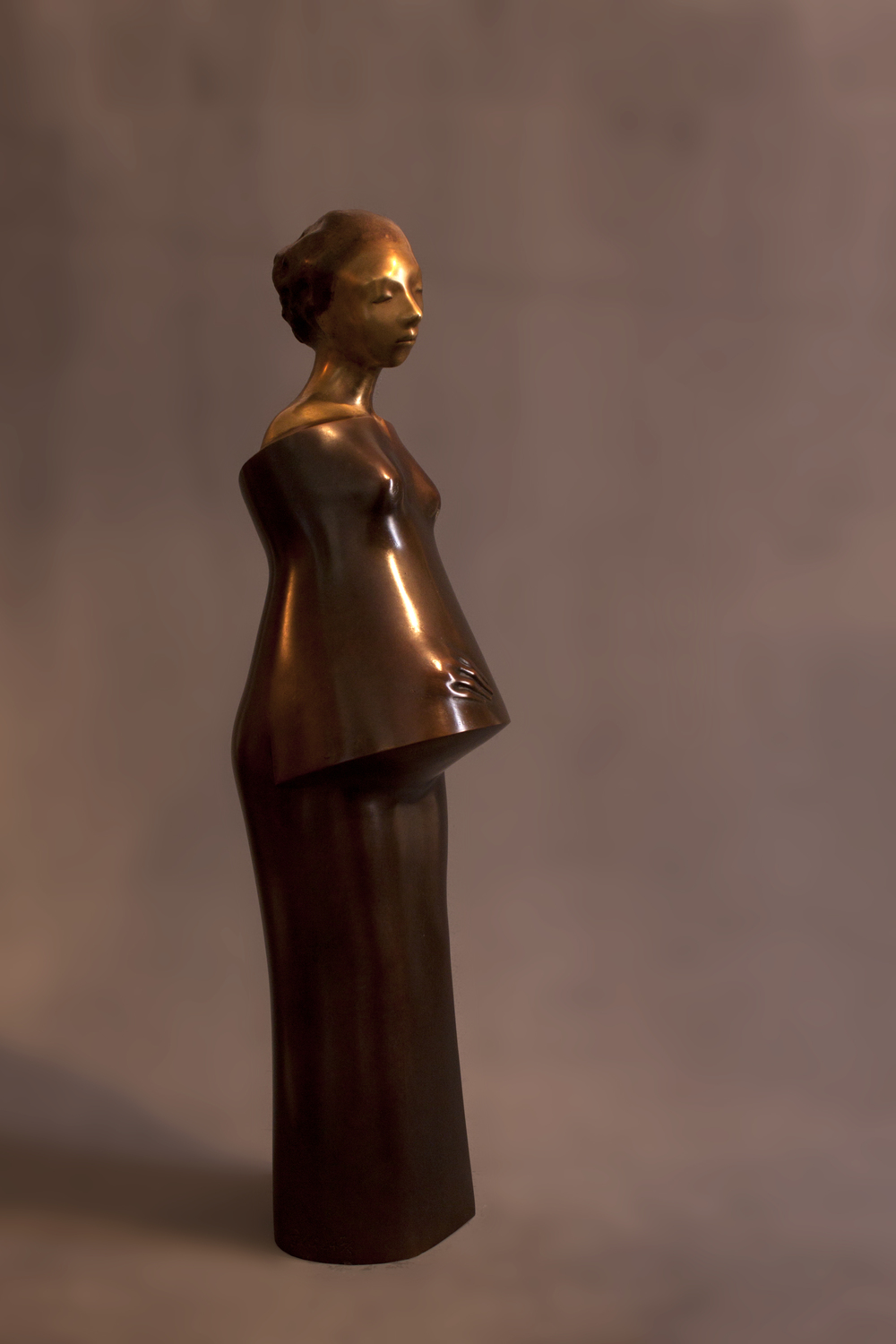 Khaled zaki // the pregnant 2014, bronze 77 x 18 x 20cm