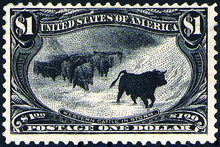 """""""Cattle in the Storm"""", from the commemorative series """"Trans-Mississippi Expo"""", 1898."""