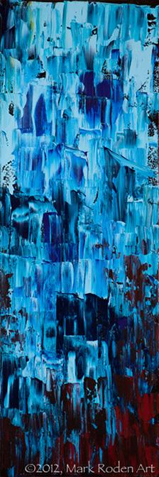 "Blue Descent  30"" x 10"" Acrylic On Canvas"