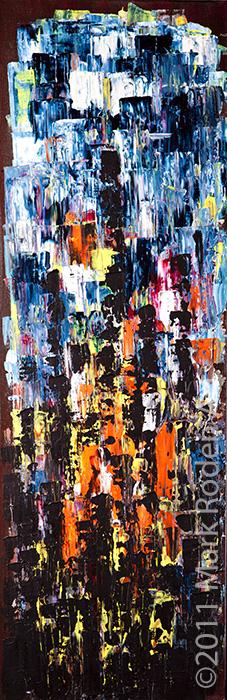 """Bonfire  30"""" x 10"""" Acrylic On Canvas"""