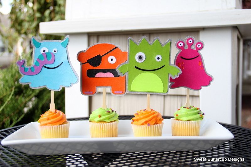 8 Goody Bags Mini Monster Party Collection Sweet Buttercup Designs