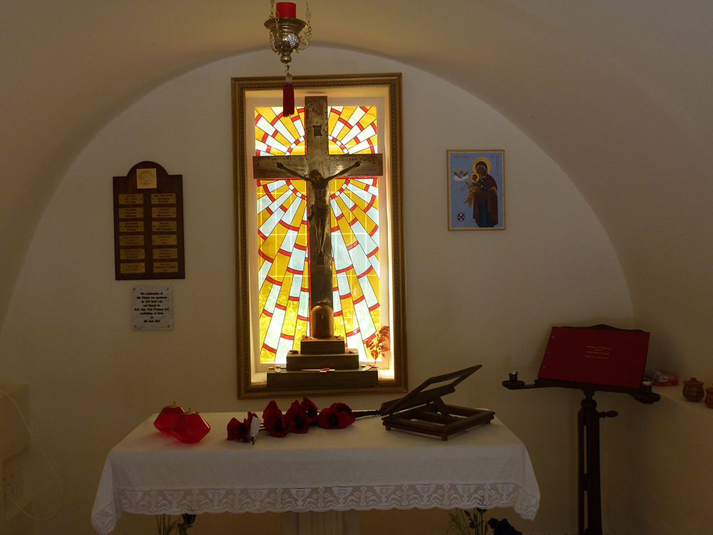 A window in the Malta Aviation Museum chapel