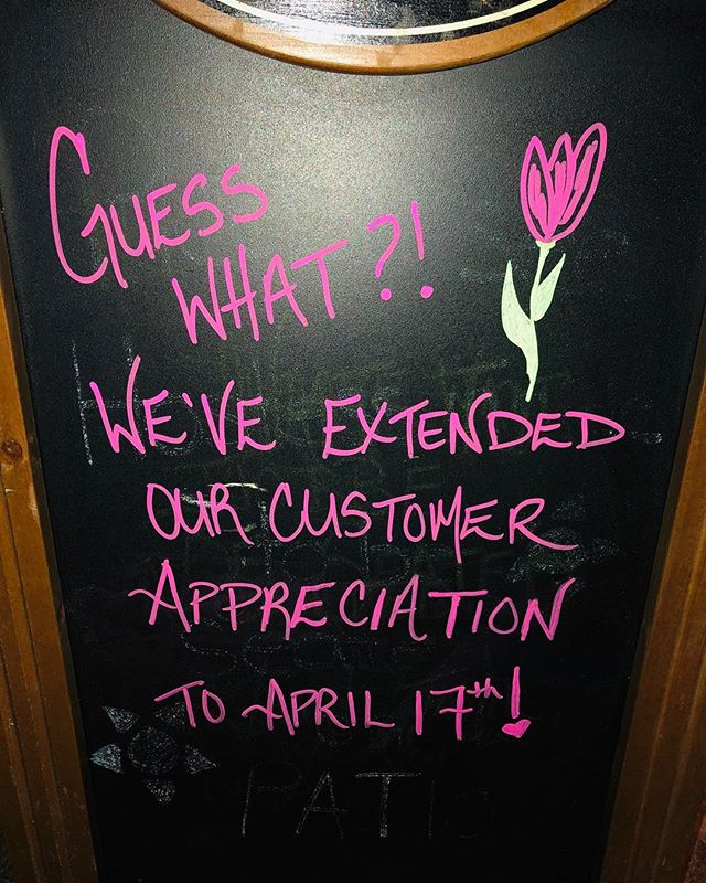 That's right!!!!! We have extended our Customer Appreciation until April 17th due to our customer feedback!! #customerappreciation #farmtotable #muskoka #lakerosseau #rosseau