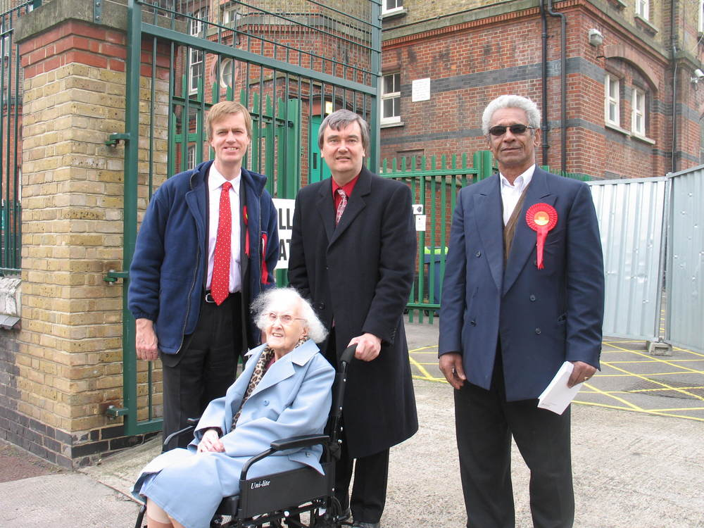 Stephen campaigning with local residents in 2005