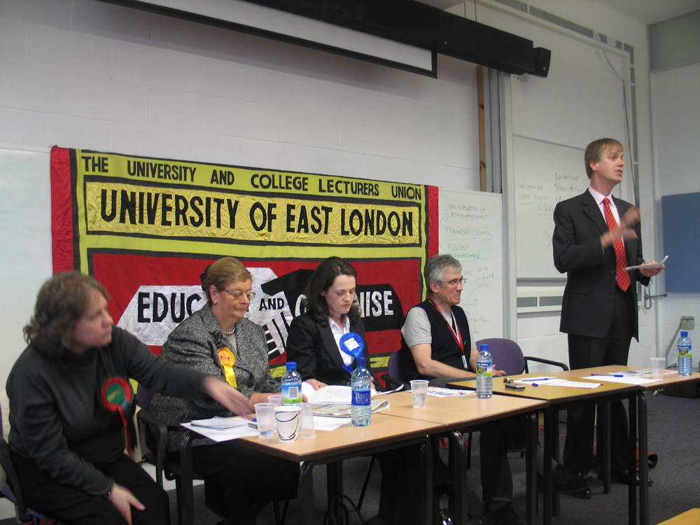 Stephen speaks at the University of East London (2005)
