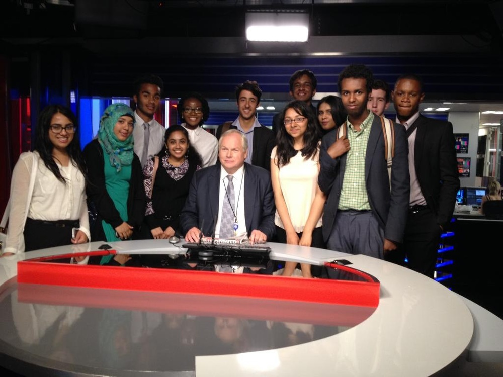 Students at the Sky News studios with political editor Adam Boulton