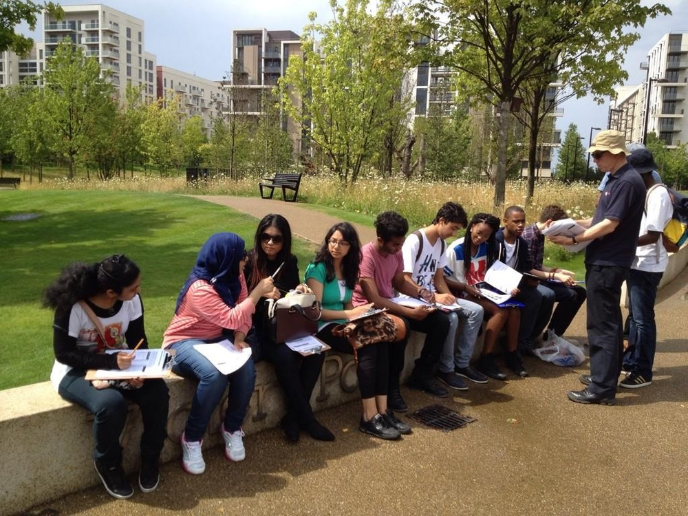 Students learning about regeneration in Newham