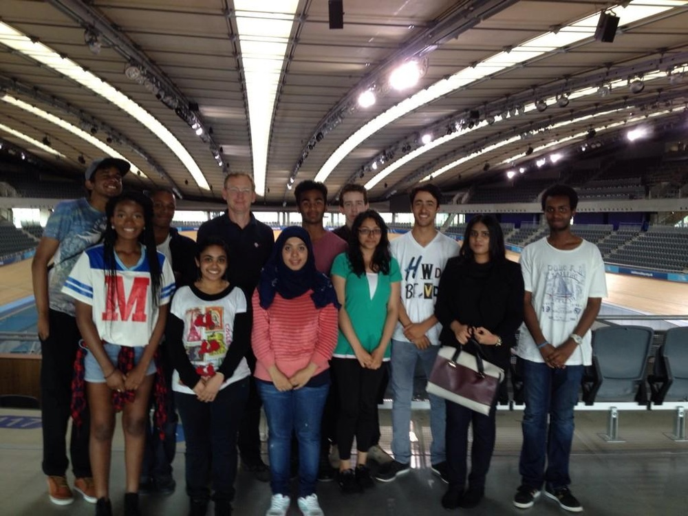 Students at the Olympic Velodrome