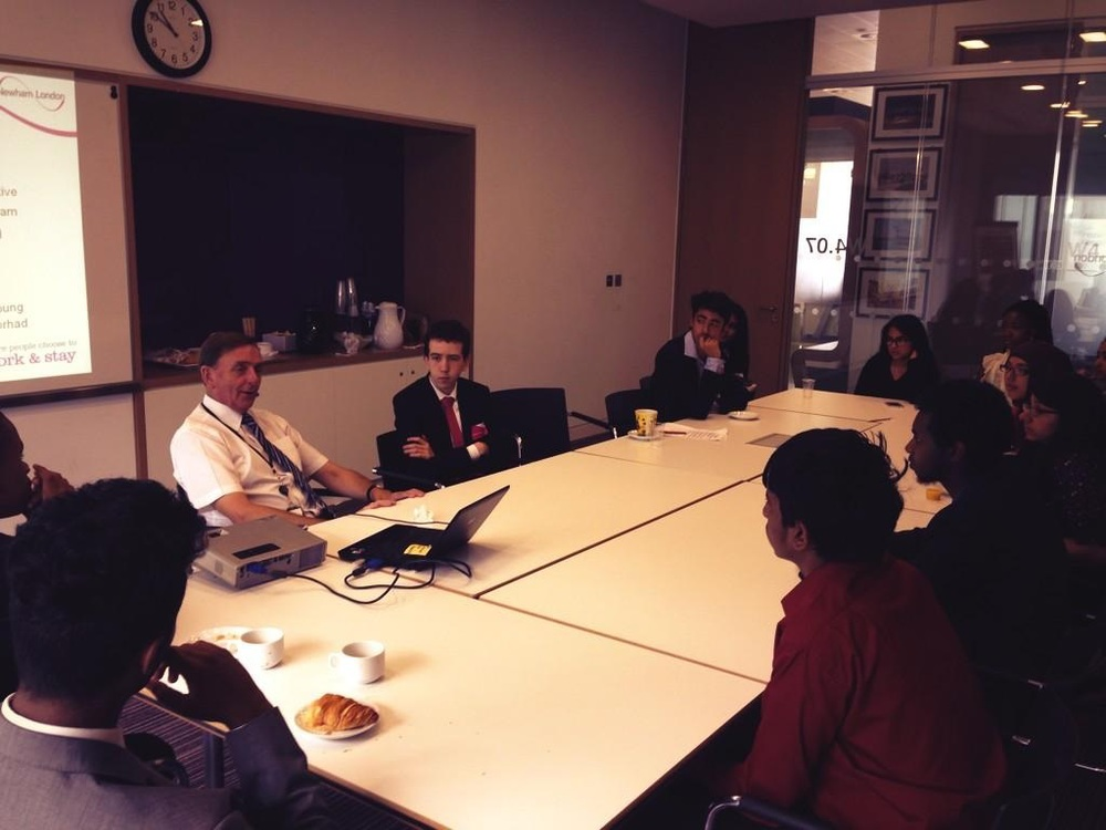 Students talk to Sir Robin Wales, Mayor of Newham