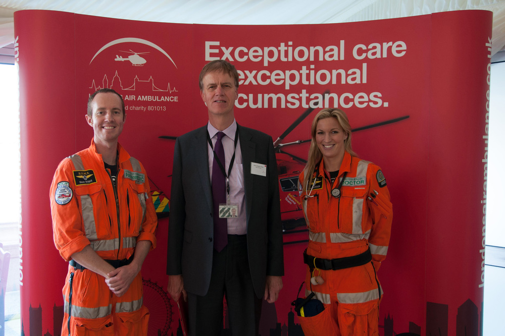 Stephen with Advanced Trauma Paramedic Steve Barber and Advanced Trauma Doctor Kate Crewdson.