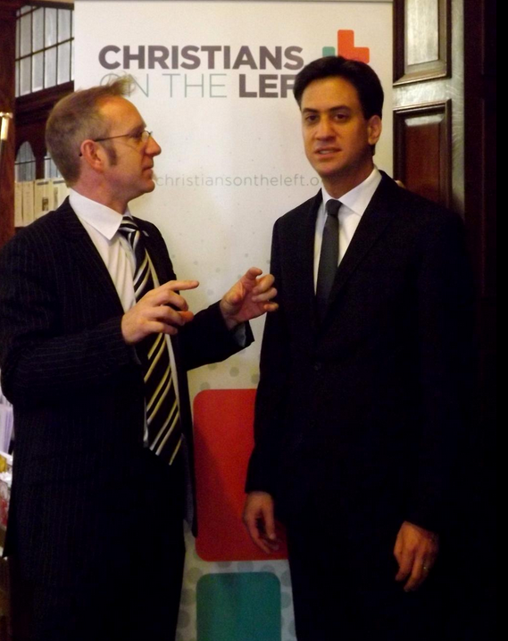 Ed Miliband with the Director of Christians on the Left, Andy Flannagan