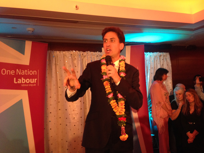 Ed Miliband speaking at the reception