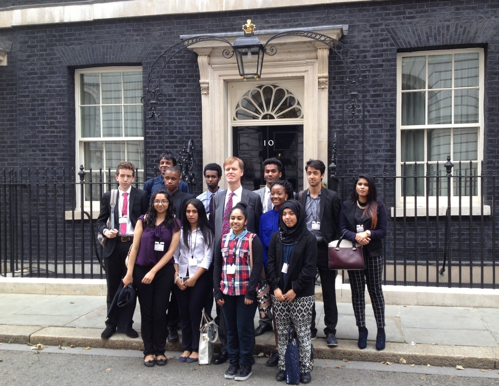 Politics School students outside 10 Downing Street