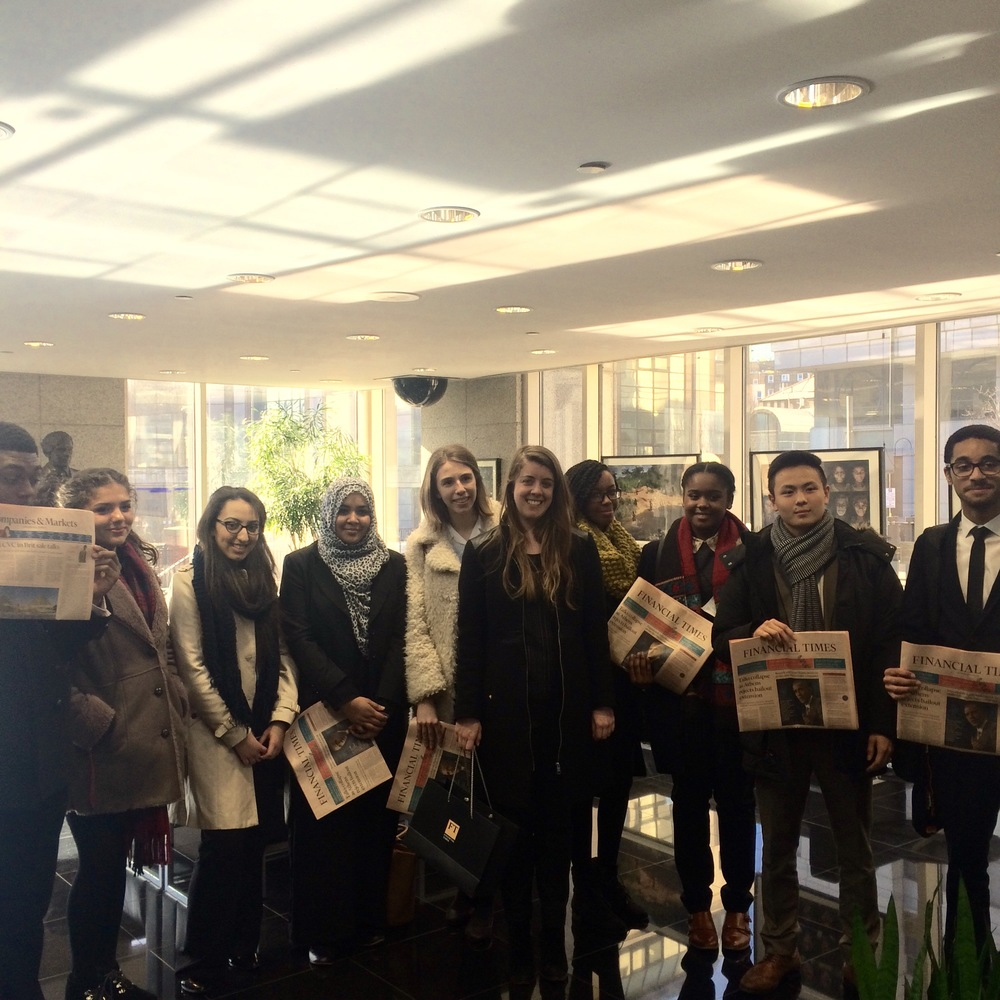 Politics School students visit journalist Elaine Moore at the Financial Times