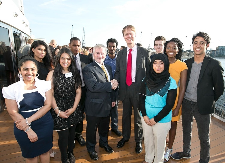 Stephen Timms MP with Declan Collier, CEO of London City Airport, and students from the summer school
