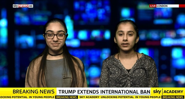 Two of students hosting a Sky News bulletin