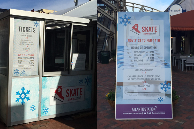 Application of the Skate branding to a variety of signage types.