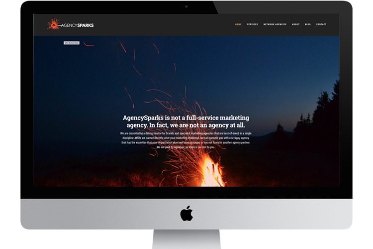 AgencySparks website, built with a Squarespace template:  http://www.agencysparks.com/