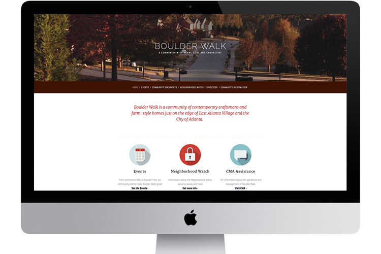 Boulder Walk HOA website, built with a Squarespace template:  http://www.boulderwalk.com