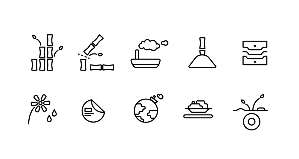 Icons for the entire life cycle of EcoSouLife's bamboo plates.