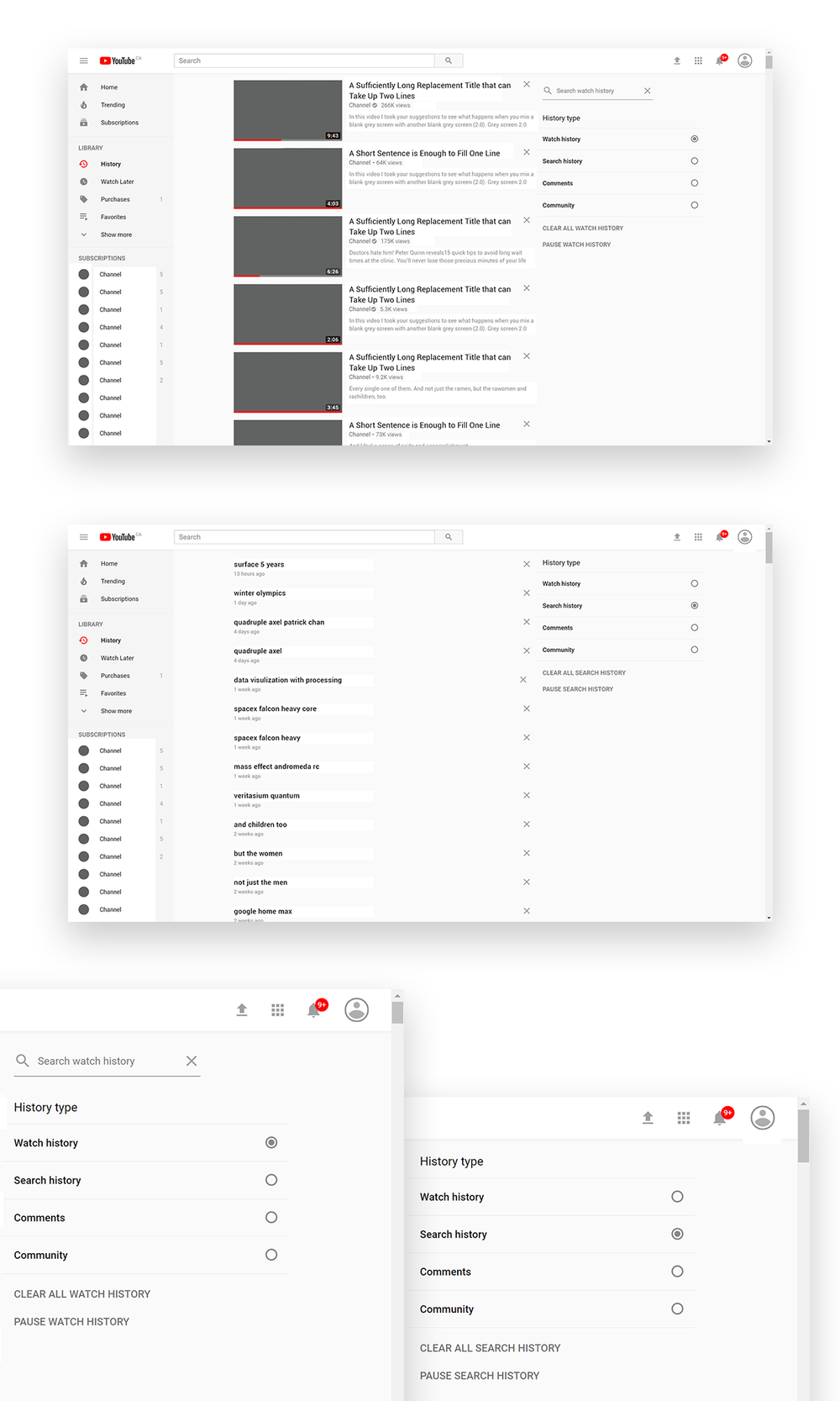 Top: New Watch history. Middle: New Search history. Bottom: detail of history selection. You can search through your watch history but not your search history.