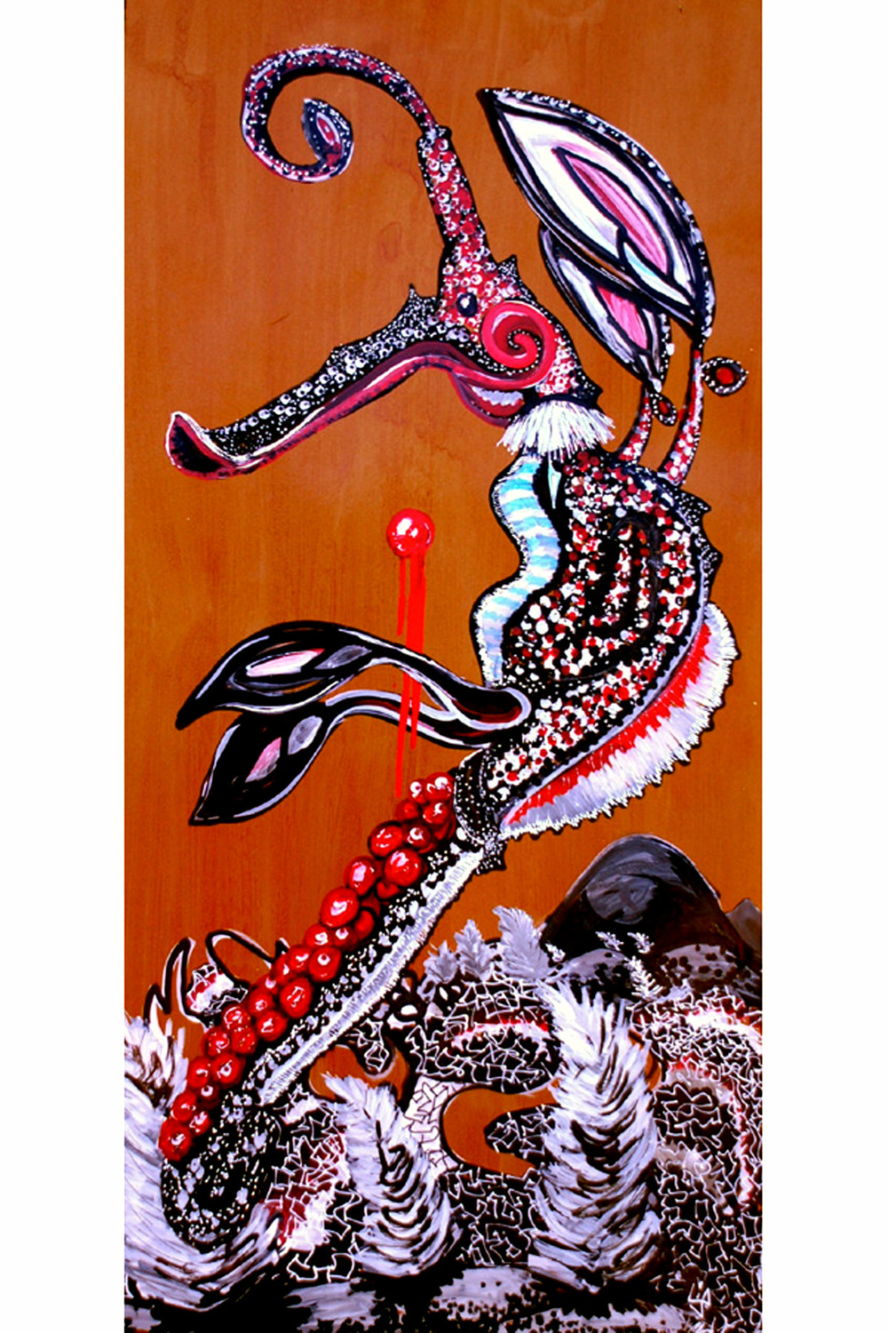 Survival of the Sickest Series:  Phylloteryx (Male Sea-Dragon) ,52 x 22 inches, ink and shellac on paper.