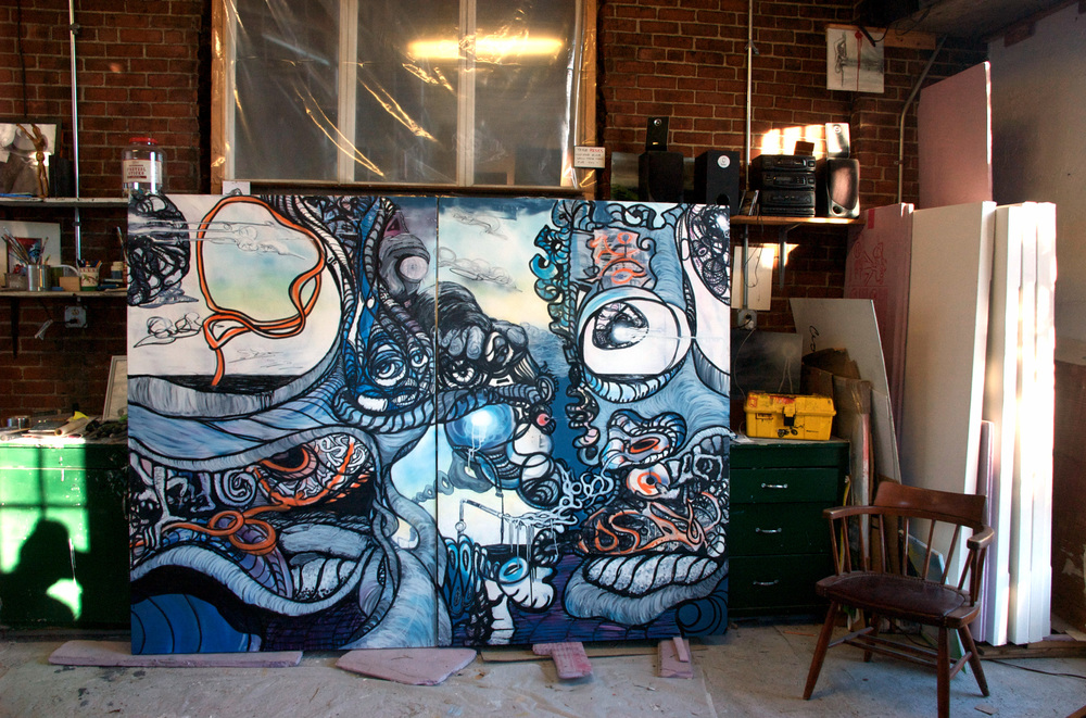 Diptych, Work In Progress: Studio installation view, 6 x 8 feet
