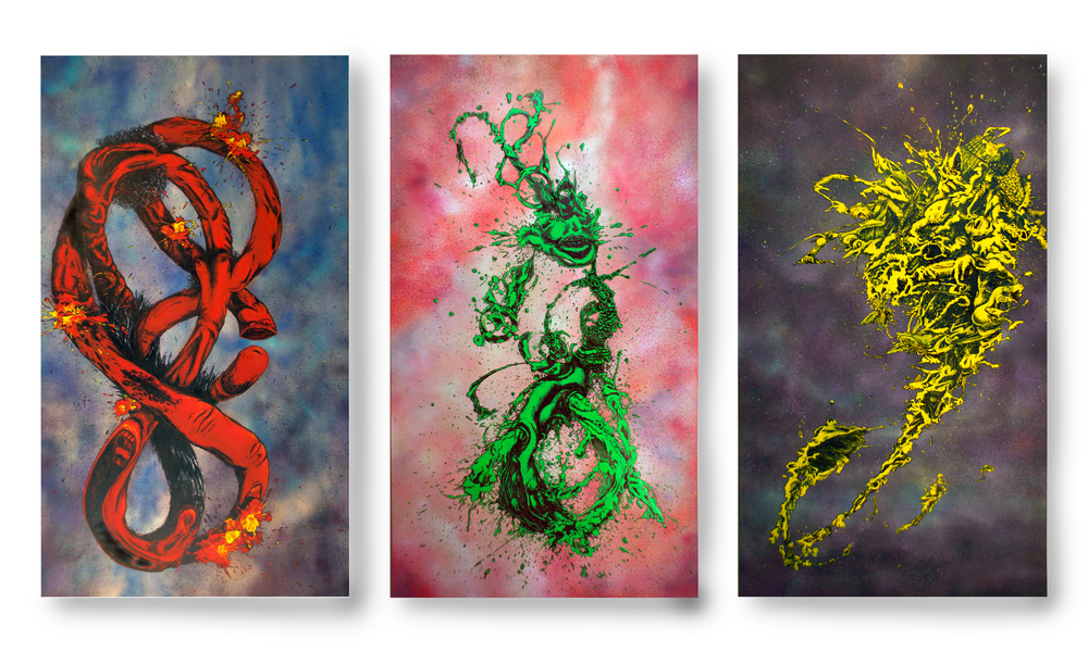 "Enthalpy of Fusion Series:   Triptych,  70 x 120 inches (70"" x 40"" each), spray-paint, acrylic and ink on canvas."