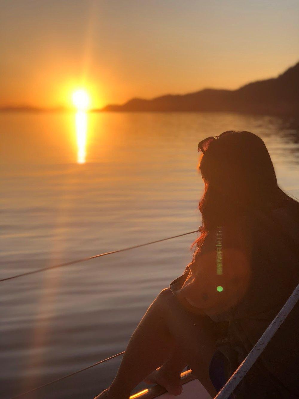 Michaela watching the sunset