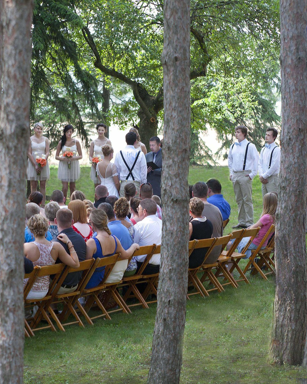 Wedding in one of the wooded areas