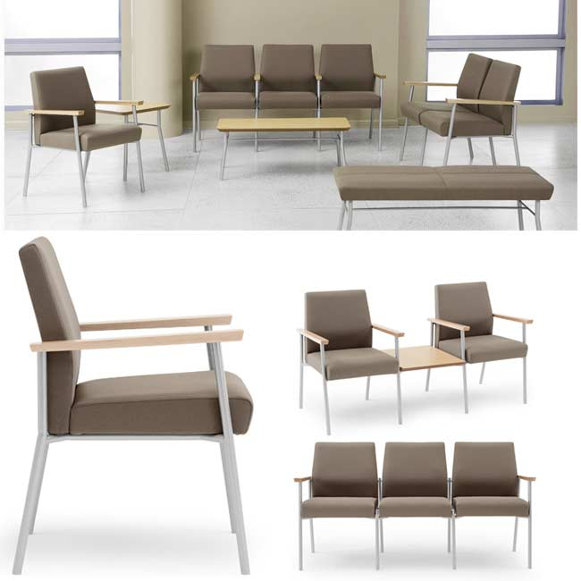 Mystic - Refined combination of metal, wood, and fabric | Environmentally friendly soy based foam | Durable powder coated finish | Wallsaver design | Available in tapered back andtapered split back models
