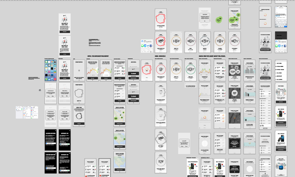 An overview of the interaction process and states of the entire app.
