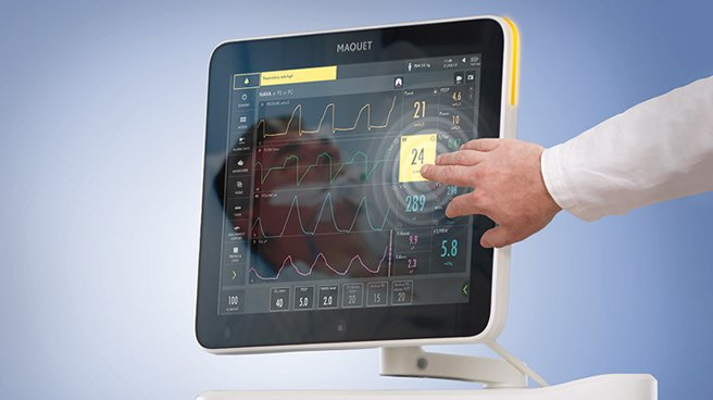 The Default ventilation screen of the Maquet Servo Atlas.