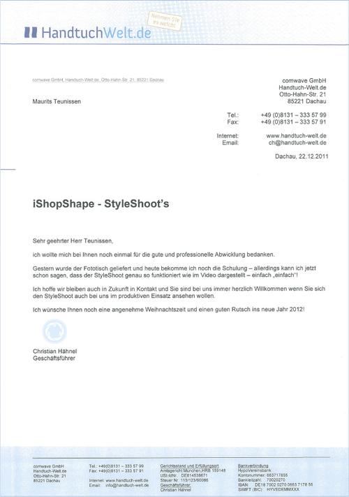 StyleShoots of great value to HandtuchWelt.de — StyleShoots