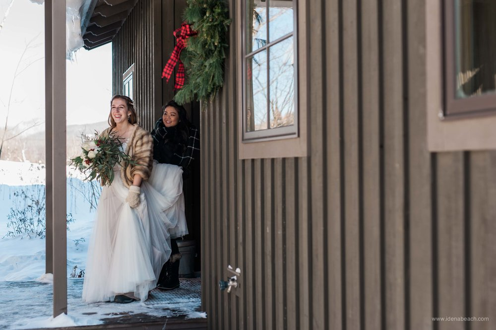 For the first look and before ceremony portraits, these two warm souls had to brave -20F weather and they did it with a big smile on their face