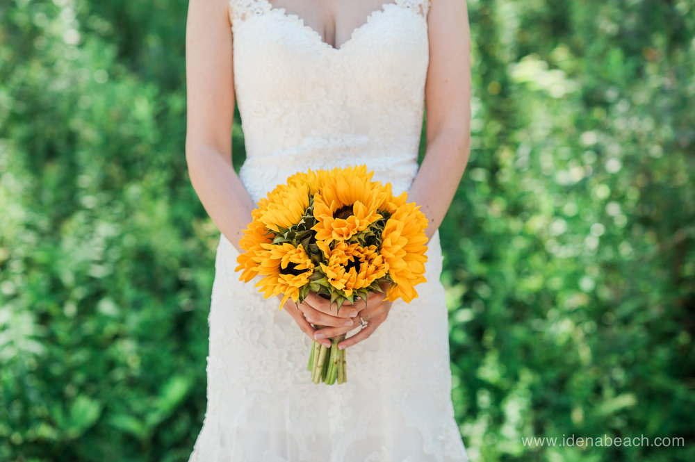 Sunflower bridal bouquet by Meadows Edge Floral