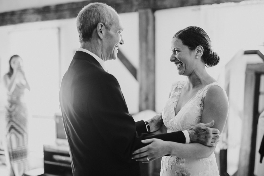 Father of The Bride First Look at Mountain Meadows Lodge Wedding
