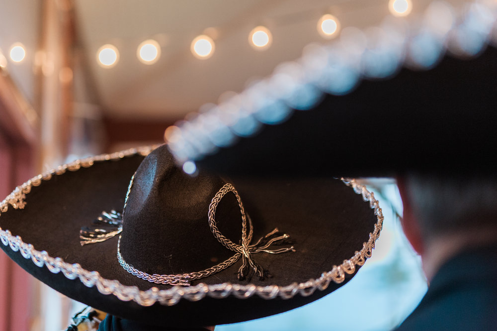 Detail of mariachi band singer hat