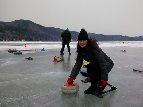 "Redpoint's last minute Sochi candidate? Chris tries curling at Ice Sports University today at   Lake Morey Resort  . (She was great at yelling ""sweep!!!!!"")"