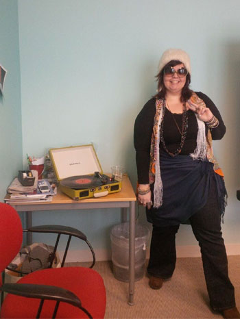Dig it, kids. At today's staff meeting, Lauren gave a presentation about the brilliance of Janis Joplin...in costume.