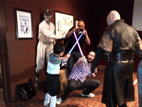 Ross learns how to wield a light saber at Ripley's…a skill every good PR professional needs to have.