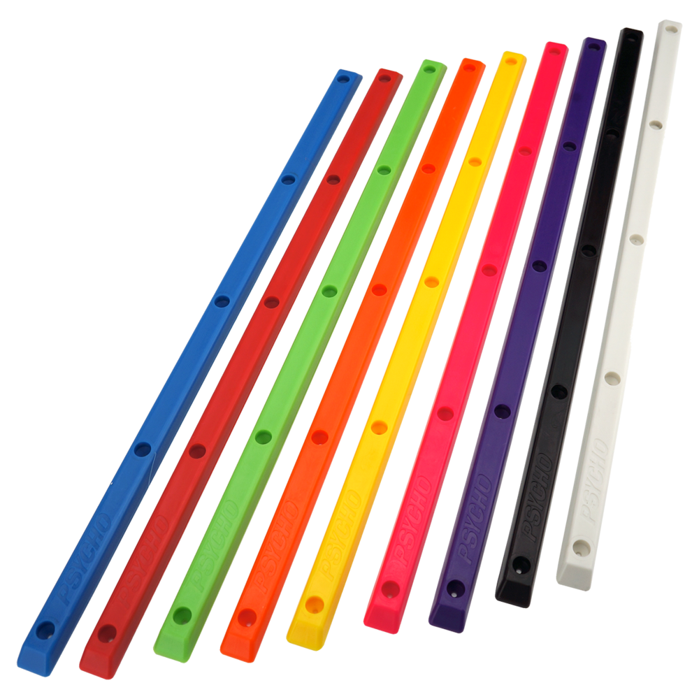 Psycho Rails   2 Pack Rails w/screws  Available: Blue, Red, Green, Orange, Yellow, Pink, Purple, Black, White  PSYR1