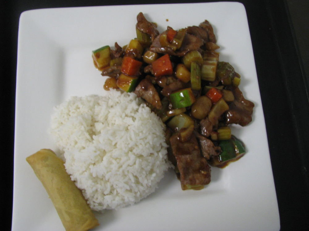 KUNG PAO STYLE DARK MEAT CHICKEN, BEEF OR SHRIMP STIR FRIED, THEN TOSSED ON OUR FLAMING WOK WITH CELERY, ZUCCHINI, CARROTS AND PEANUTS. COOKED WITH OUR HOMEMADE SPICY BROWN SAUCE.